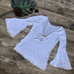 White Flutter Sleeve Opaque Swim Cover Up Med
